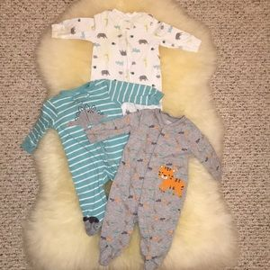 3 baby boys sleep and plays footed pajamas